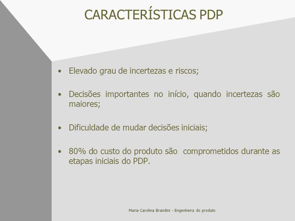 Maria Carolina Brandini - Engenheira do produto CARACTERÍSTICAS PDP Elevado grau de incertezas e riscos; Decisões importantes no início, quando incert