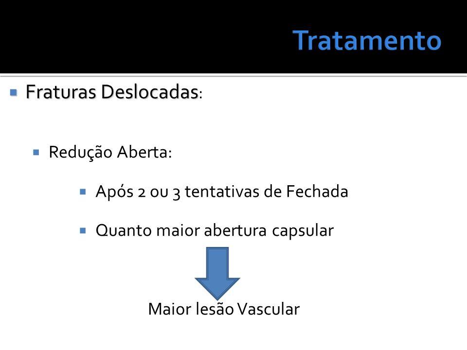 Fraturas Deslocadas Fraturas Deslocadas : Redução Aberta: Após 2 ou 3 tentativas de Fechada Quanto maior abertura capsular Maior lesão Vascular