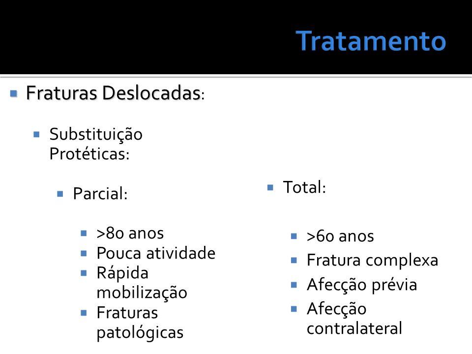 Total: >60 anos Fratura complexa Afecção prévia Afecção contralateral Fraturas Deslocadas Fraturas Deslocadas : Substituição Protéticas: Parcial: >80