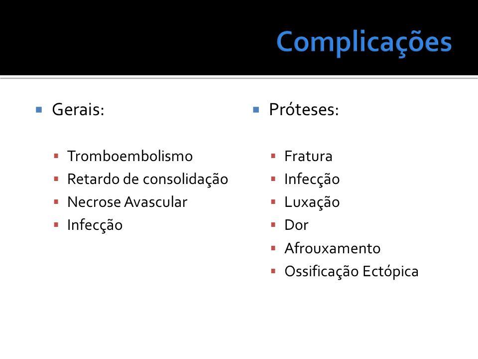 Gerais: Tromboembolismo Retardo de consolidação Necrose Avascular Infecção Próteses: Fratura Infecção Luxação Dor Afrouxamento Ossificação Ectópica