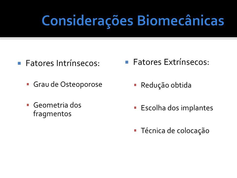 Fatores Intrínsecos: Grau de Osteoporose Geometria dos fragmentos Fatores Extrínsecos: Redução obtida Escolha dos implantes Técnica de colocação
