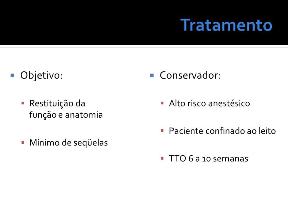 Objetivo: Restituição da função e anatomia Mínimo de seqüelas Conservador: Alto risco anestésico Paciente confinado ao leito TTO 6 a 10 semanas