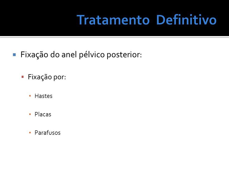 Fixação do anel pélvico posterior: Fixação por: Hastes Placas Parafusos