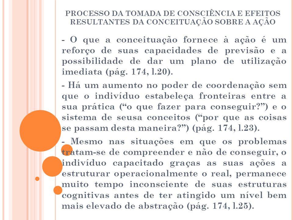 PROCESSO DA TOMADA DE CONSCIÊNCIA E EFEITOS RESULTANTES DA CONCEITUAÇÃO SOBRE A AÇÃO - O que a conceituação fornece à ação é um reforço de suas capaci