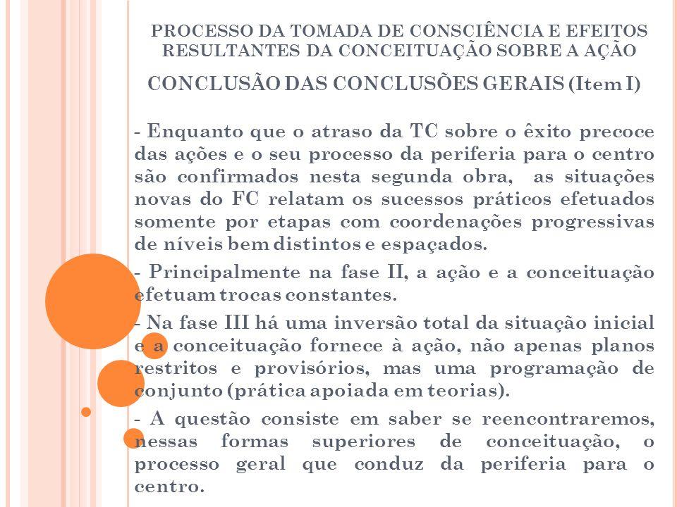 PROCESSO DA TOMADA DE CONSCIÊNCIA E EFEITOS RESULTANTES DA CONCEITUAÇÃO SOBRE A AÇÃO CONCLUSÃO DAS CONCLUSÕES GERAIS (Item I) - Enquanto que o atraso