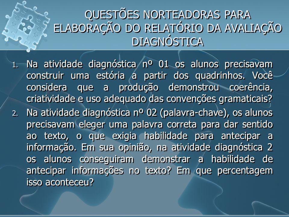 QUESTÕES NORTEADORAS PARA ELABORAÇÃO DO RELATÓRIO DA AVALIAÇÃO DIAGNÓSTICA 1. Na atividade diagnóstica nº 01 os alunos precisavam construir uma estóri