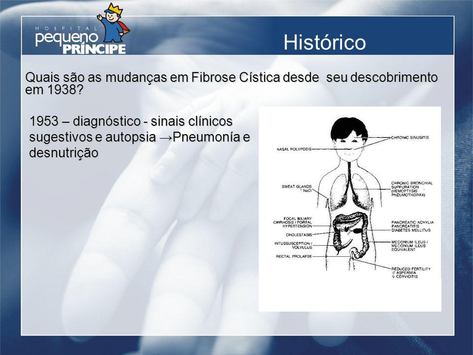 Histórico 1953 – diagnóstico - sinais clínicos sugestivos e autopsia Pneumonía e desnutrição Quais são as mudanças em Fibrose Cística desde seu descob