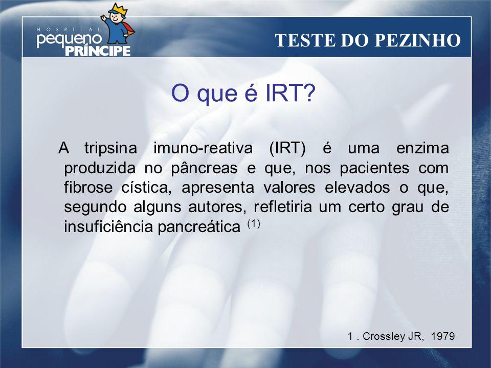 O que é IRT? A tripsina imuno-reativa (IRT) é uma enzima produzida no pâncreas e que, nos pacientes com fibrose cística, apresenta valores elevados o