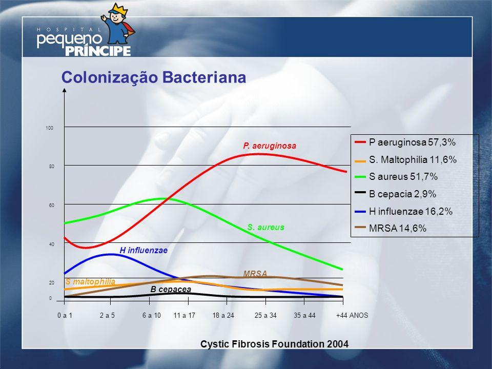 Colonização Bacteriana 20 60 40 100 80 0 0 a 12 a 56 a 1011 a 1718 a 2425 a 3435 a 44+44 ANOS P. aeruginosa S. aureus MRSA B cepacea S maltophilia H i