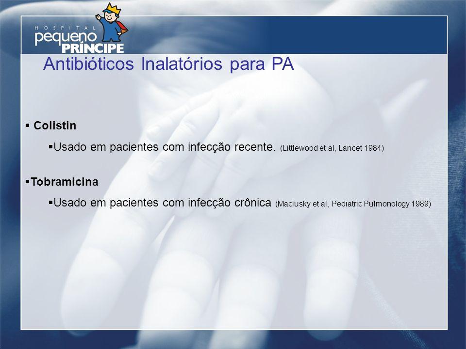 Colistin Usado em pacientes com infecção recente. (Littlewood et al, Lancet 1984) Tobramicina Usado em pacientes com infecção crônica (Maclusky et al,