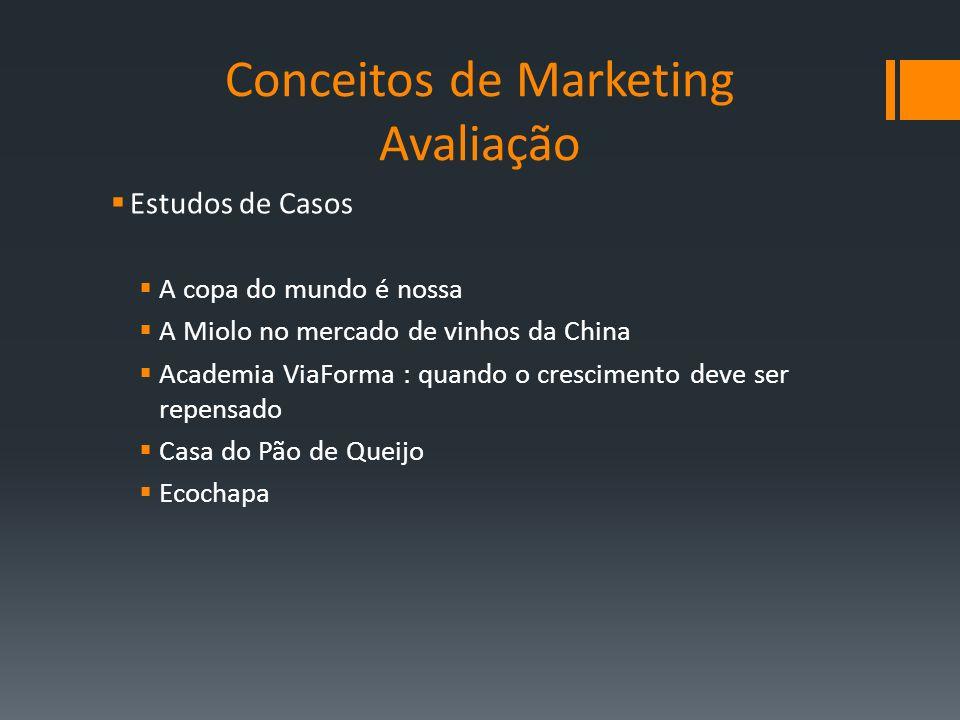 Conceitos de Marketing Avaliação Estudos de Casos A copa do mundo é nossa A Miolo no mercado de vinhos da China Academia ViaForma : quando o crescimen