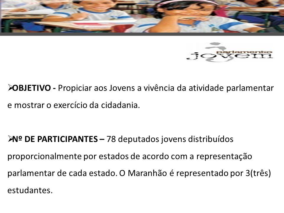 CRITÉRIOS PARA PARTICIPAÇÃO: faixa etária - 16 a 22 anos; possuir bom desempenho escolar; ter participação ativa em Colegiado Escolar ou atividades voluntárias.