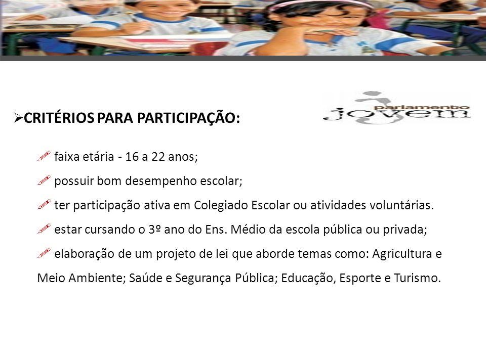 OS ALUNOS SELECIONADOS NA ETAPA ESTADUAL: apresentam os projetos de lei aos deputados em Brasília; participam de eventos que estejam acontecendo na Câmara na época do Parlamento Jovem; visitam todos os espaços físicos da Câmara e do Senado.