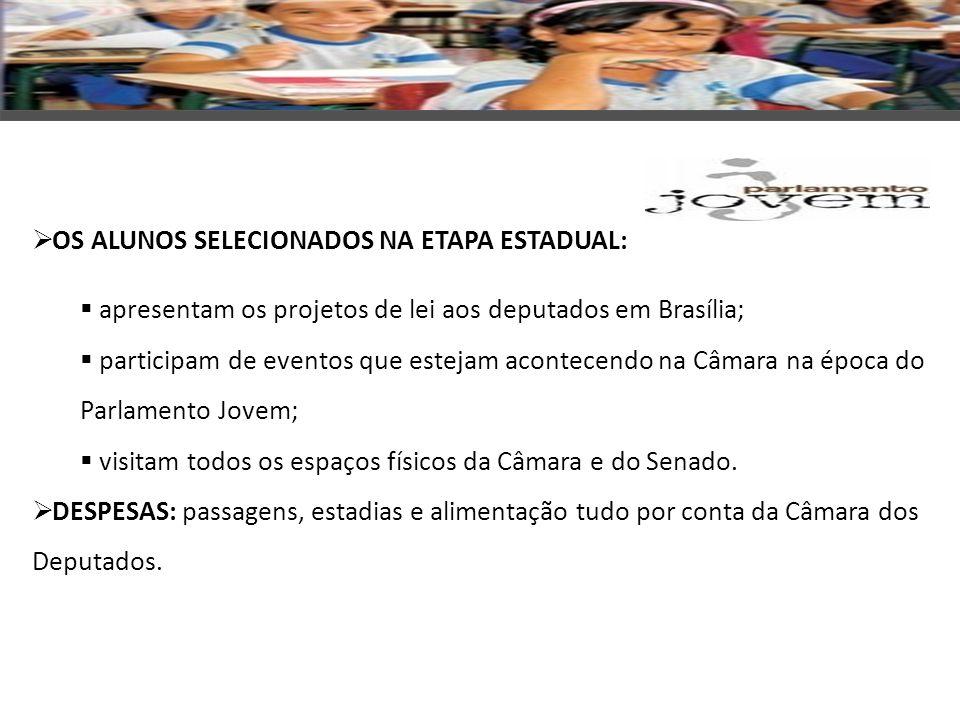 OS ALUNOS SELECIONADOS NA ETAPA ESTADUAL: apresentam os projetos de lei aos deputados em Brasília; participam de eventos que estejam acontecendo na Câ