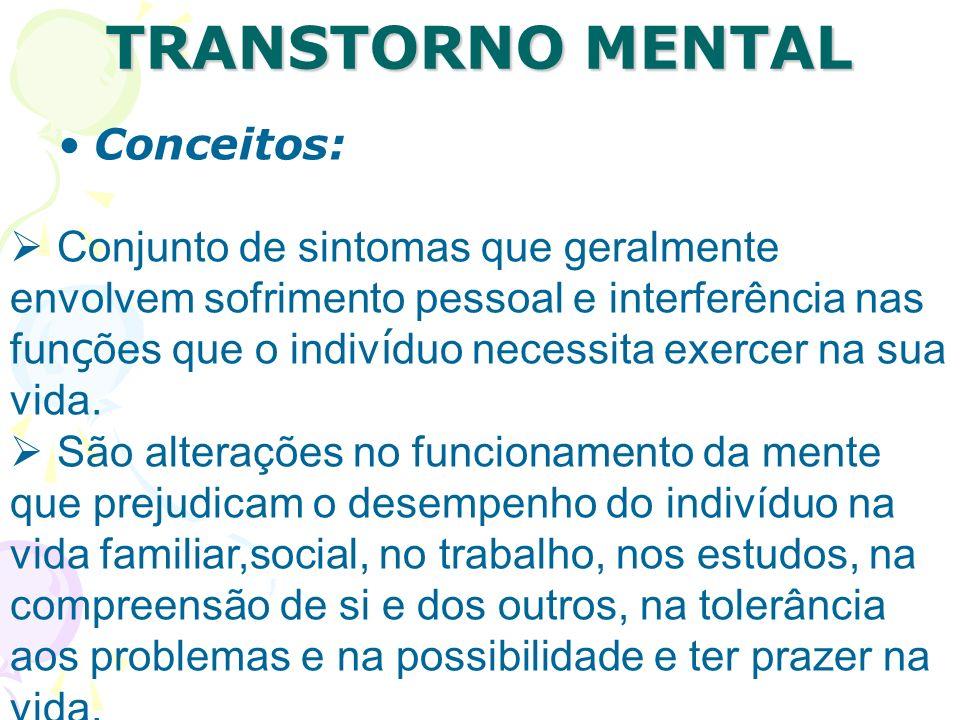 TRANSTORNO MENTAL TRANSTORNO MENTAL Conceitos: Consiste num desequilíbrio psíquico que se pode manifestar através de diversos sinais e sintomas e que