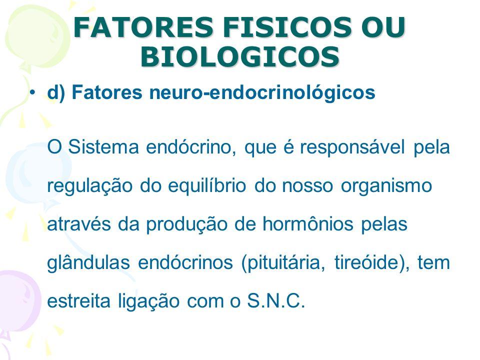 FATORES FISICOS OU BIOLOGICOS c) Fatores Peri-natais Em alguns casos a criança pode sofrer danos neurológicos devido ao traumatismo ou falta de oxigen