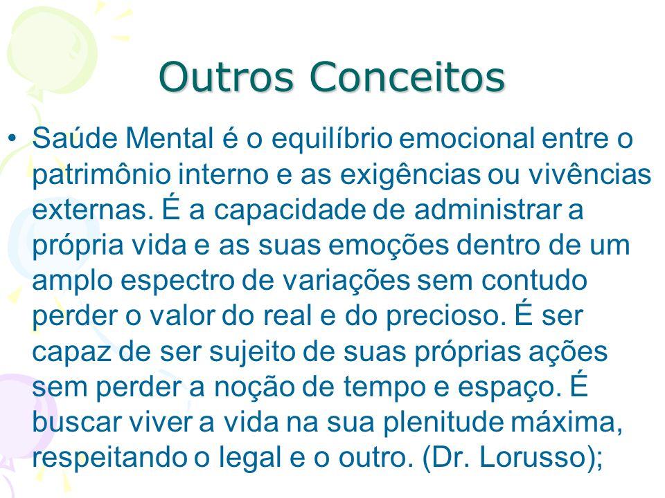 Outros Conceitos Saúde Mental é o equilíbrio emocional entre o patrimônio interno e as exigências ou vivências externas.