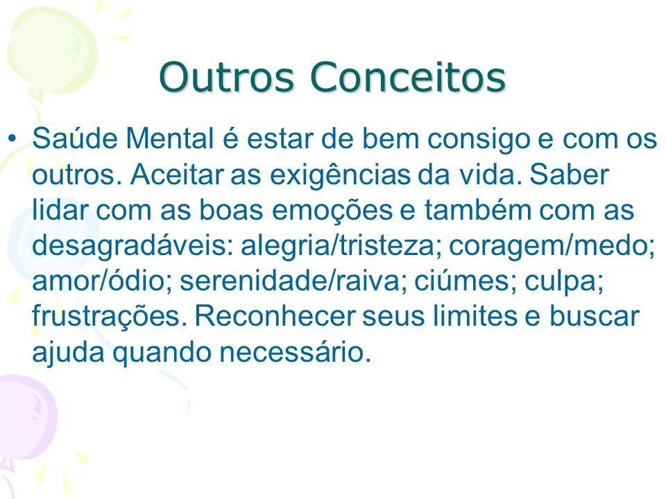 Outros Conceitos Saúde Mental é o equilíbrio emocional entre o patrimônio interno e as exigências ou vivências externas. É a capacidade de administrar