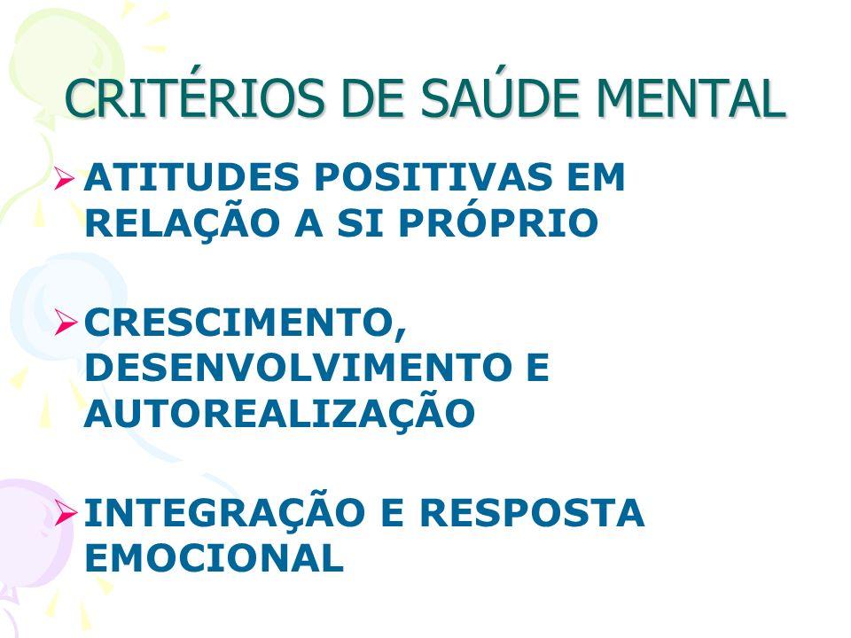 CRITÉRIOS DE SAÚDE MENTAL ATITUDES POSITIVAS EM RELAÇÃO A SI PRÓPRIO CRESCIMENTO, DESENVOLVIMENTO E AUTOREALIZAÇÃO INTEGRAÇÃO E RESPOSTA EMOCIONAL
