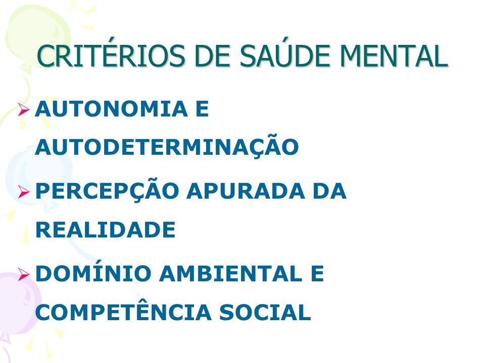 CRITÉRIOS DE SAÚDE MENTAL AUTONOMIA E AUTODETERMINAÇÃO PERCEPÇÃO APURADA DA REALIDADE DOMÍNIO AMBIENTAL E COMPETÊNCIA SOCIAL