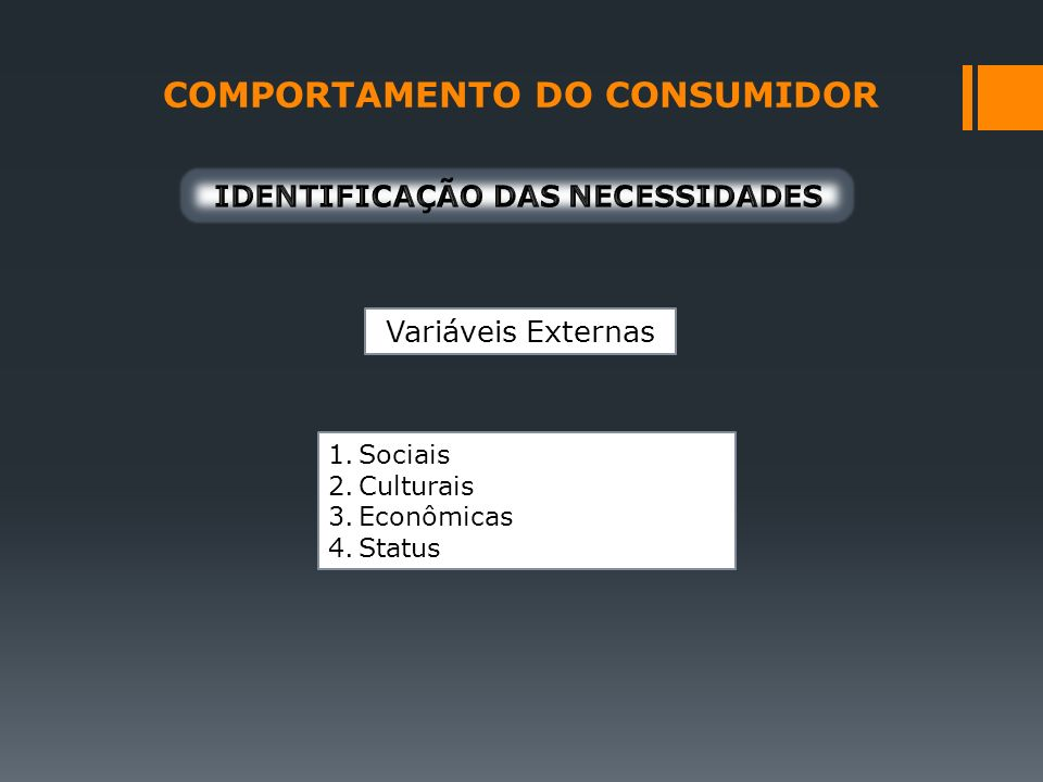 Variáveis Externas 1.Sociais 2.Culturais 3.Econômicas 4.Status