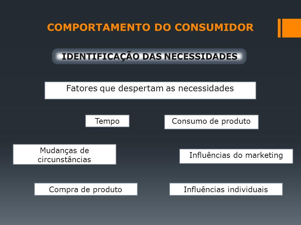 COMPORTAMENTO DO CONSUMIDOR Fatores que despertam as necessidades Tempo Mudanças de circunstâncias Compra de produto Consumo de produto Influências do