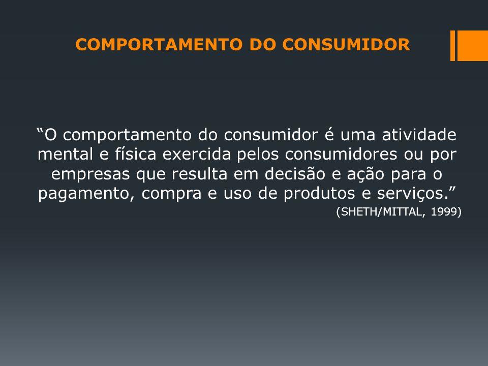 O comportamento do consumidor é uma atividade mental e física exercida pelos consumidores ou por empresas que resulta em decisão e ação para o pagamen