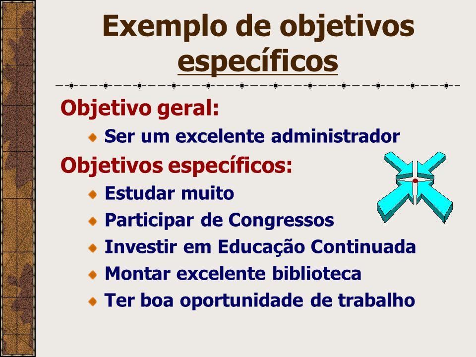 Exemplo de objetivos específicos Objetivo geral: Ser um excelente administrador Objetivos específicos: Estudar muito Participar de Congressos Investir