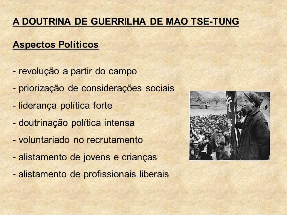 A DOUTRINA DE GUERRILHA DE MAO TSE-TUNG Aspectos Políticos - revolução a partir do campo - priorização de considerações sociais - liderança política f