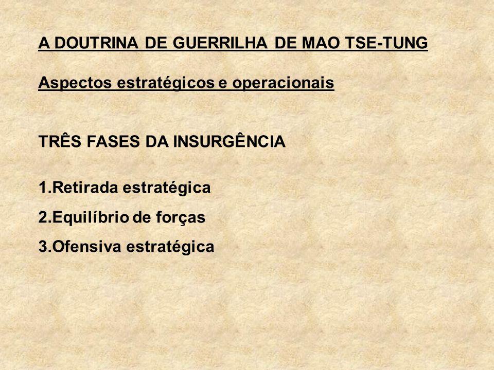 A DOUTRINA DE GUERRILHA DE MAO TSE-TUNG Aspectos estratégicos e operacionais TRÊS FASES DA INSURGÊNCIA 1.Retirada estratégica 2.Equilíbrio de forças 3
