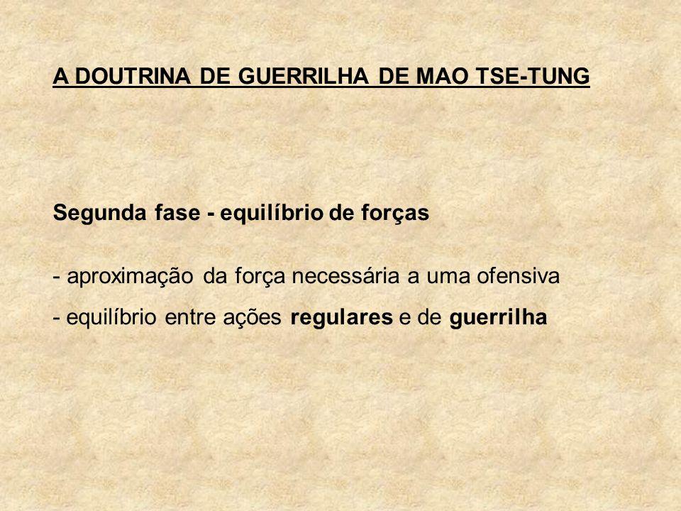 A DOUTRINA DE GUERRILHA DE MAO TSE-TUNG Segunda fase - equilíbrio de forças - aproximação da força necessária a uma ofensiva - equilíbrio entre ações