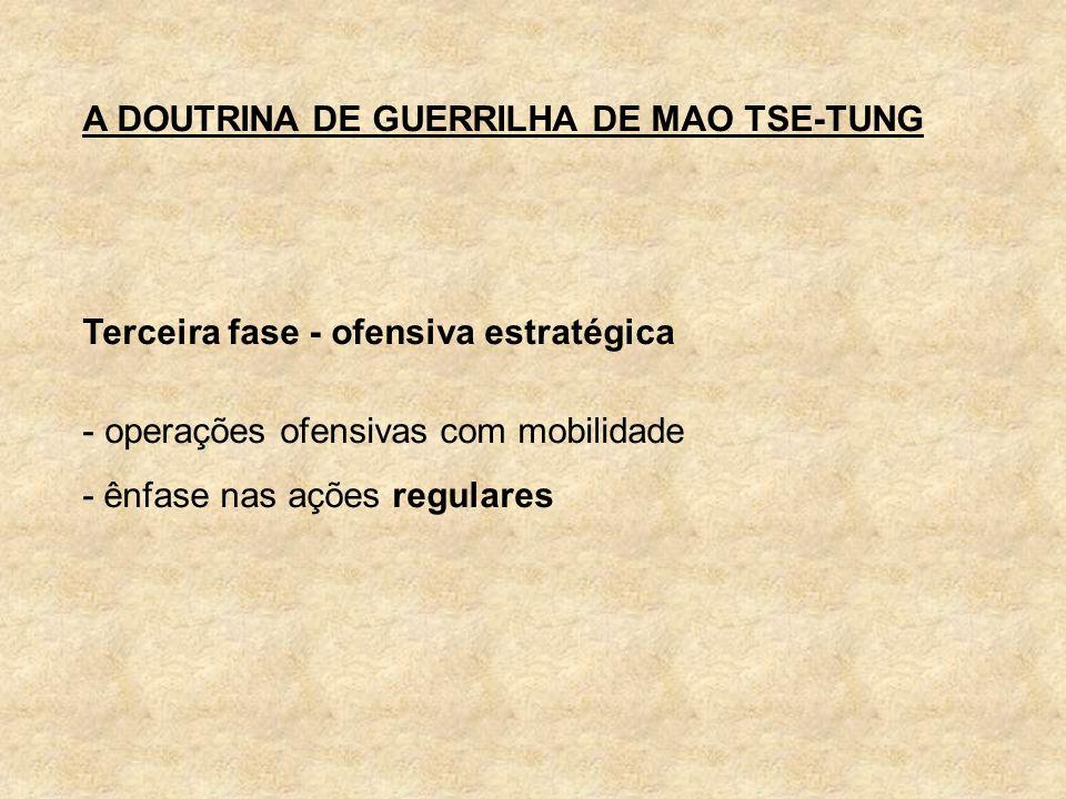 A DOUTRINA DE GUERRILHA DE MAO TSE-TUNG Terceira fase - ofensiva estratégica - operações ofensivas com mobilidade - ênfase nas ações regulares