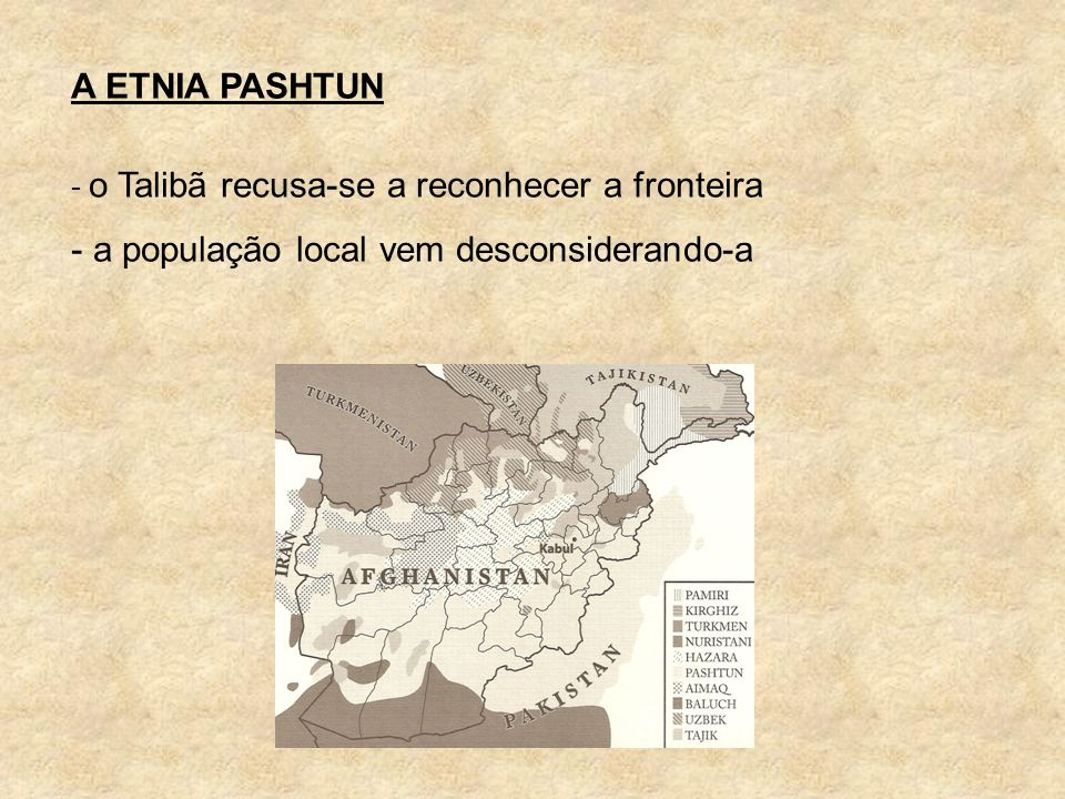 A ETNIA PASHTUN - o Talibã recusa-se a reconhecer a fronteira - a população local vem desconsiderando-a