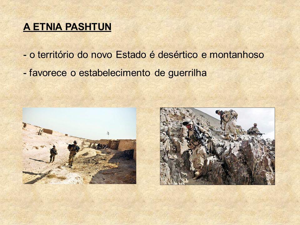 A ETNIA PASHTUN - o território do novo Estado é desértico e montanhoso - favorece o estabelecimento de guerrilha