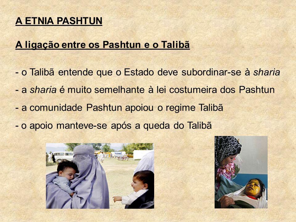 A ETNIA PASHTUN A ligação entre os Pashtun e o Talibã - o Talibã entende que o Estado deve subordinar-se à sharia - a sharia é muito semelhante à lei