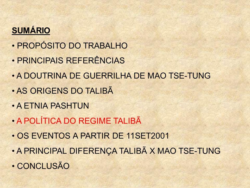 SUMÁRIO PROPÓSITO DO TRABALHO PRINCIPAIS REFERÊNCIAS A DOUTRINA DE GUERRILHA DE MAO TSE-TUNG AS ORIGENS DO TALIBÃ A ETNIA PASHTUN A POLÍTICA DO REGIME
