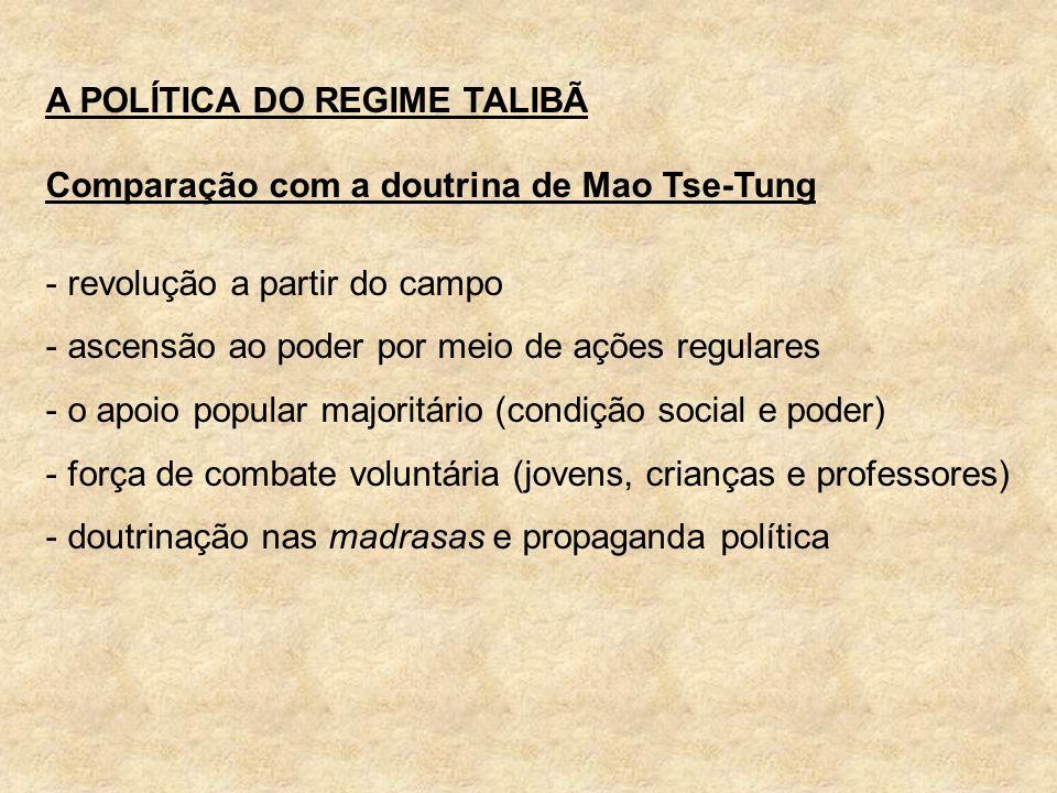 A POLÍTICA DO REGIME TALIBÃ Comparação com a doutrina de Mao Tse-Tung - revolução a partir do campo - ascensão ao poder por meio de ações regulares -