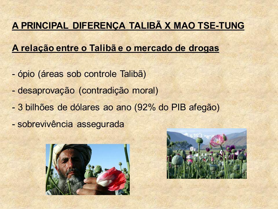 A PRINCIPAL DIFERENÇA TALIBÃ X MAO TSE-TUNG A relação entre o Talibã e o mercado de drogas - ópio (áreas sob controle Talibã) - desaprovação (contradi