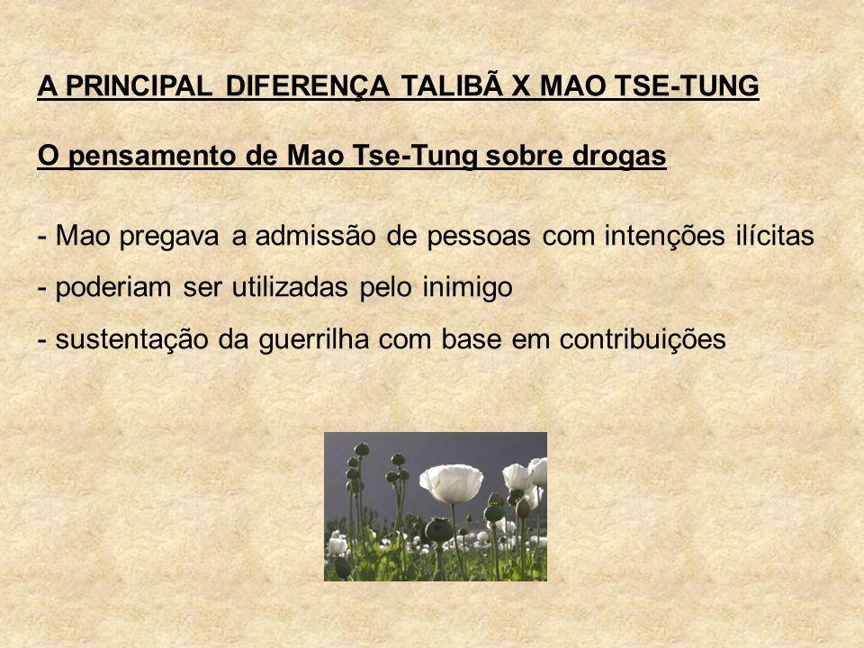 A PRINCIPAL DIFERENÇA TALIBÃ X MAO TSE-TUNG O pensamento de Mao Tse-Tung sobre drogas - Mao pregava a admissão de pessoas com intenções ilícitas - pod