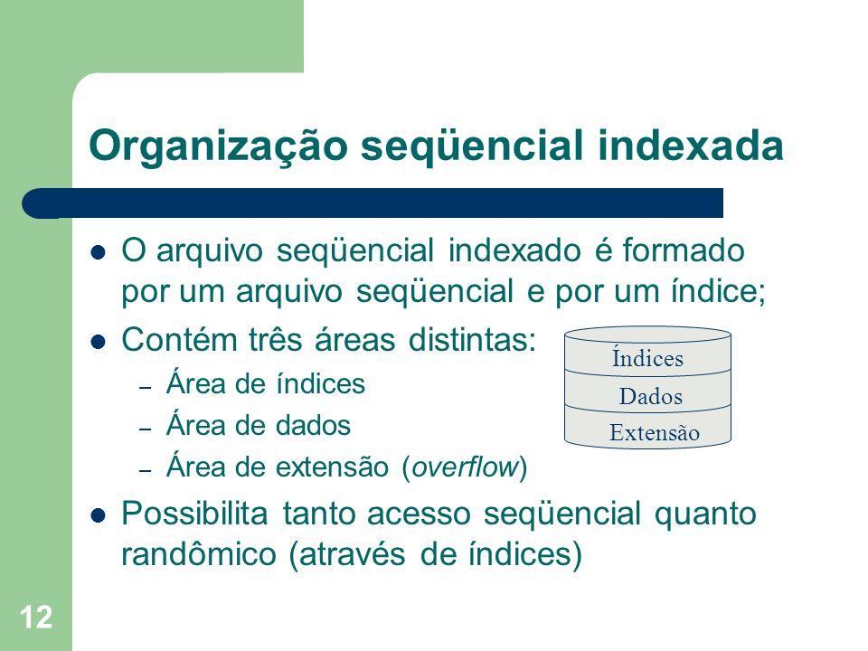 12 Organização seqüencial indexada O arquivo seqüencial indexado é formado por um arquivo seqüencial e por um índice; Contém três áreas distintas: – Á