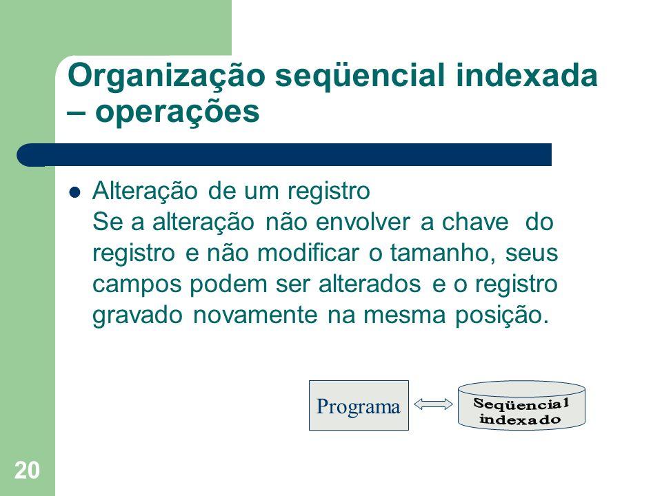 20 Organização seqüencial indexada – operações Alteração de um registro Se a alteração não envolver a chave do registro e não modificar o tamanho, seu