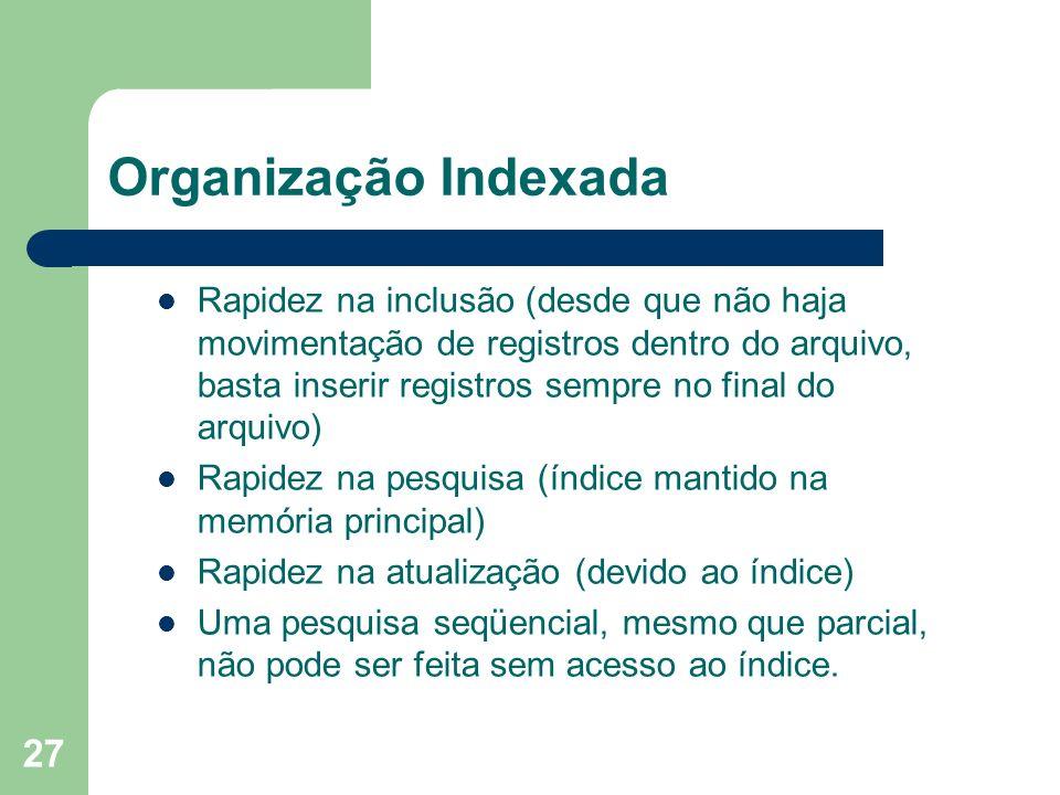 27 Organização Indexada Rapidez na inclusão (desde que não haja movimentação de registros dentro do arquivo, basta inserir registros sempre no final d