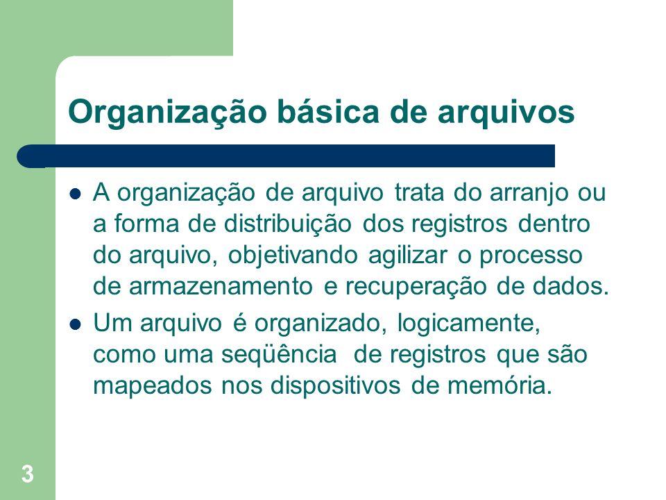 3 Organização básica de arquivos A organização de arquivo trata do arranjo ou a forma de distribuição dos registros dentro do arquivo, objetivando agi