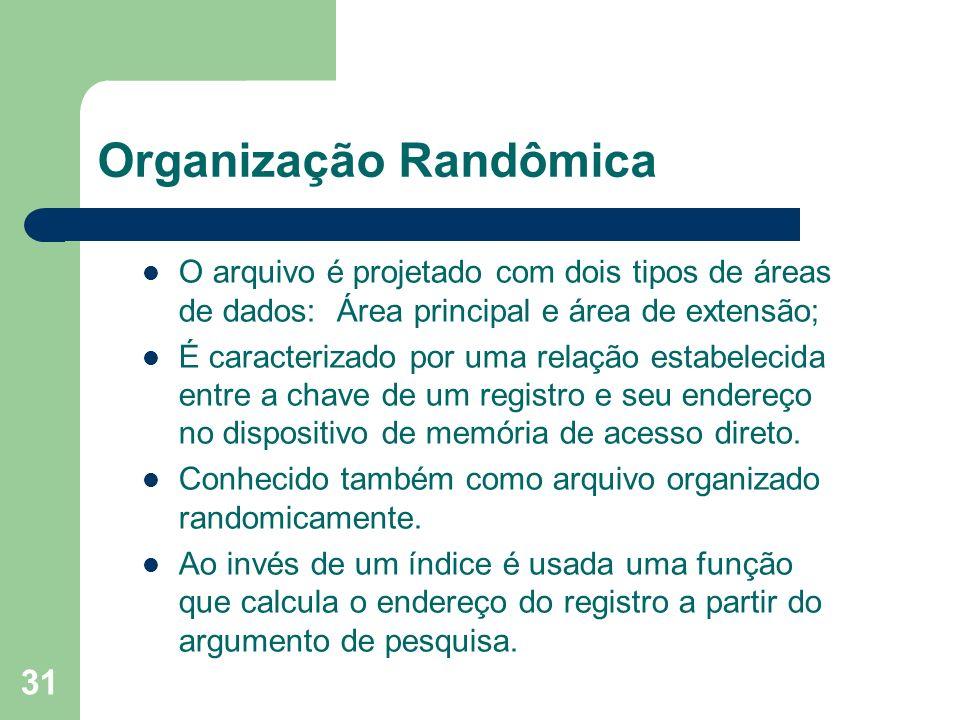 31 Organização Randômica O arquivo é projetado com dois tipos de áreas de dados: Área principal e área de extensão; É caracterizado por uma relação es