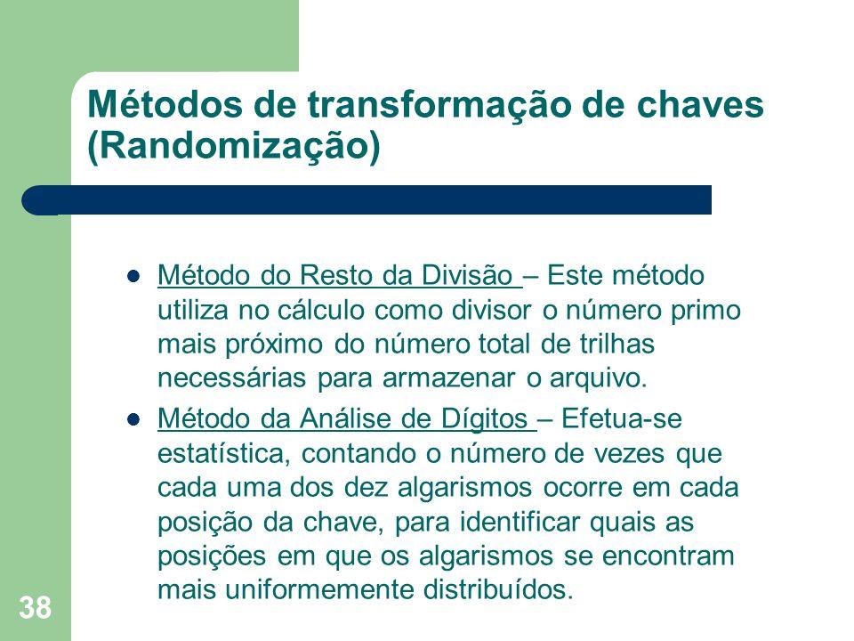 38 Métodos de transformação de chaves (Randomização) Método do Resto da Divisão – Este método utiliza no cálculo como divisor o número primo mais próx