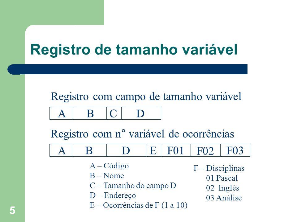 5 Registro de tamanho variável ABCD ABDEF01 F02 F03 Registro com campo de tamanho variável Registro com n° variável de ocorrências A – Código B – Nome