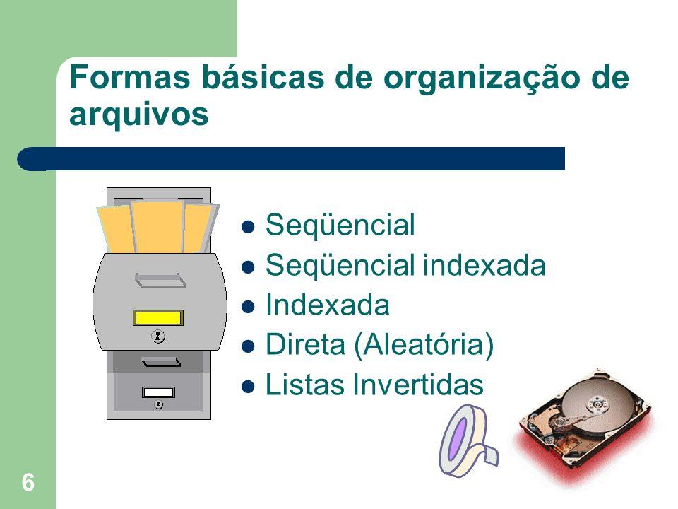 6 Formas básicas de organização de arquivos Seqüencial Seqüencial indexada Indexada Direta (Aleatória) Listas Invertidas