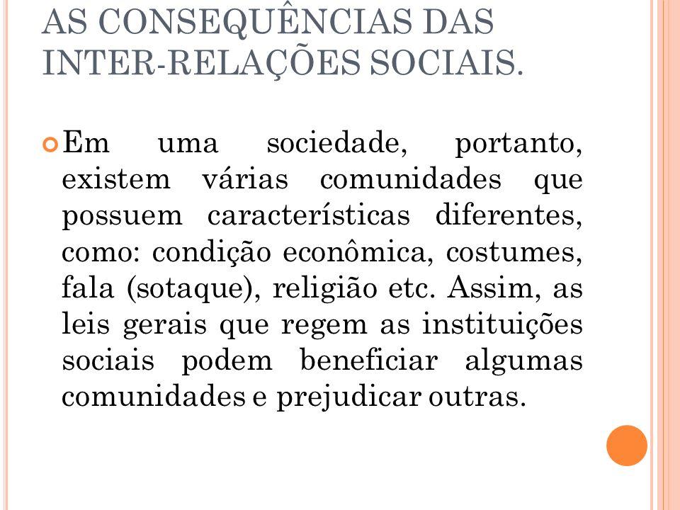 AS CONSEQUÊNCIAS DAS INTER-RELAÇÕES SOCIAIS. Em uma sociedade, portanto, existem várias comunidades que possuem características diferentes, como: cond