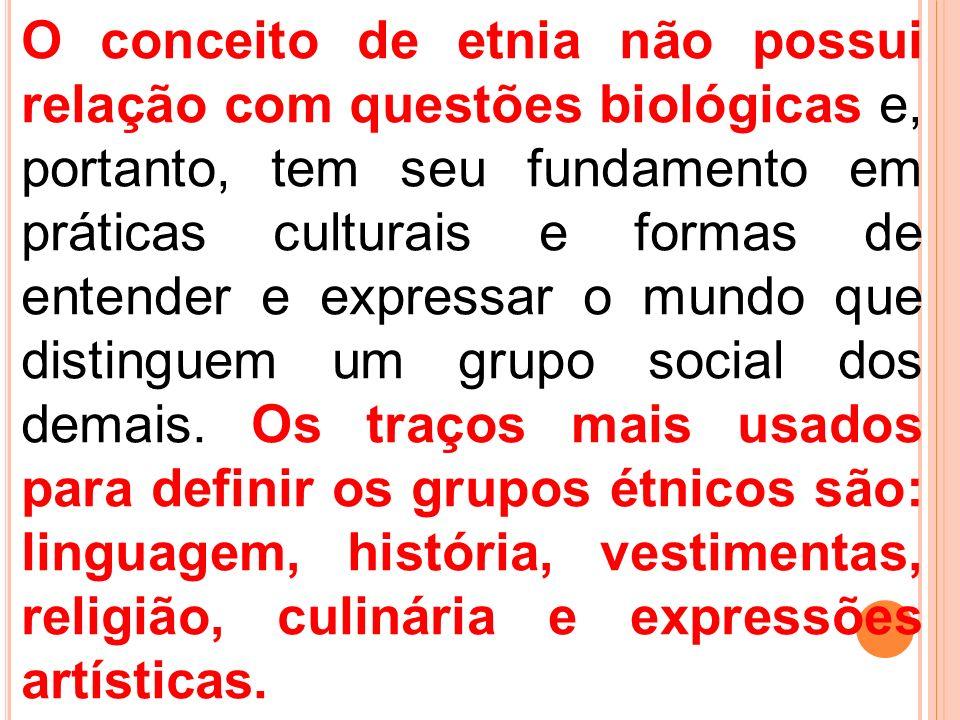 O conceito de etnia não possui relação com questões biológicas e, portanto, tem seu fundamento em práticas culturais e formas de entender e expressar