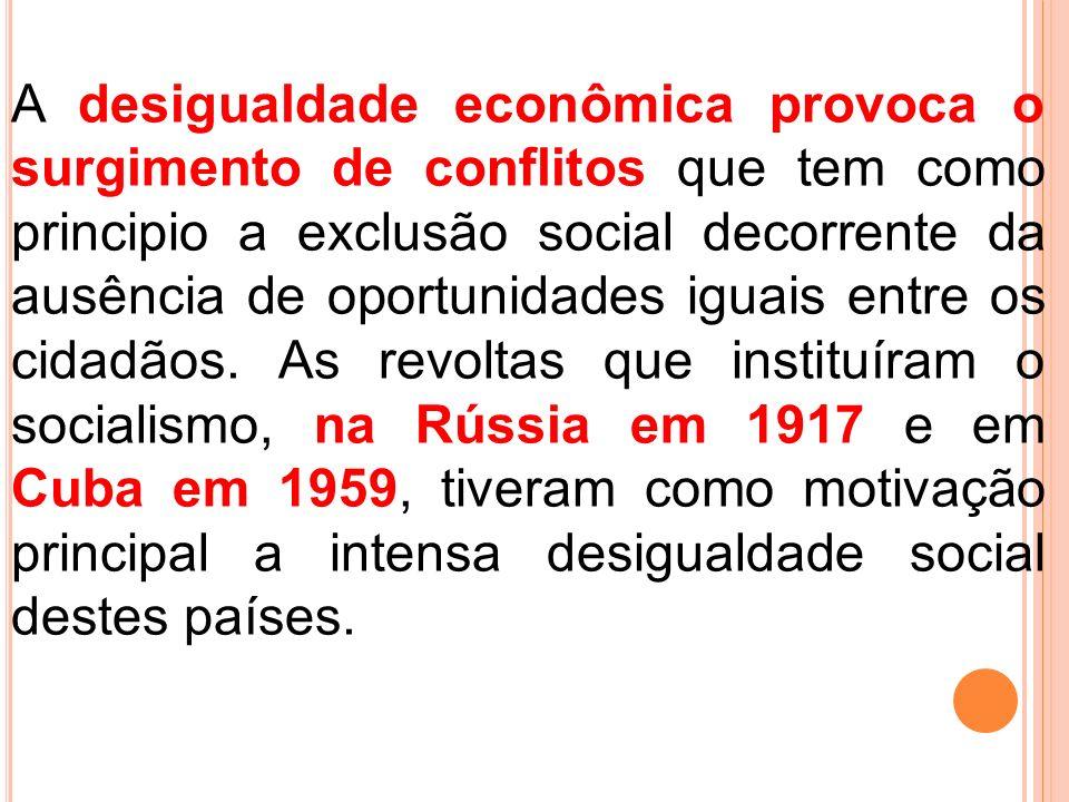 A desigualdade econômica provoca o surgimento de conflitos que tem como principio a exclusão social decorrente da ausência de oportunidades iguais ent